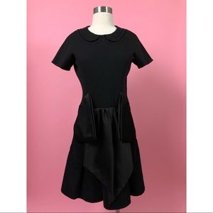Marc Jacobs black wool corduroy fit flare dress M